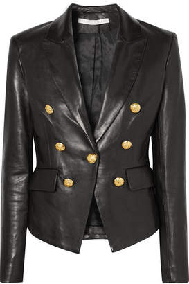 Veronica Beard Cooke Double-breasted Leather Blazer - Black