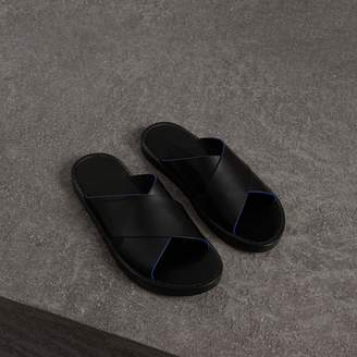 Burberry Contrast Detail Leather Sandals , Size: 42.5, Black