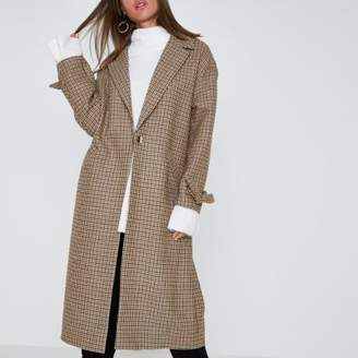 River Island Womens Brown check tie cuff coat