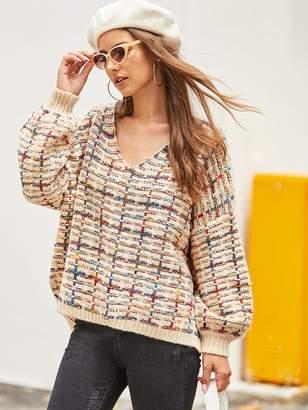 Shein Slit High Low Hem Boucle Knit Sweater