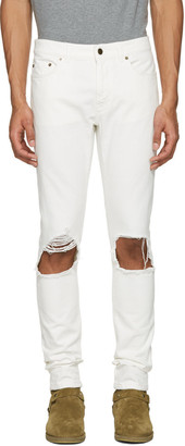 Saint Laurent White Low Waisted Skinny Jeans $750 thestylecure.com