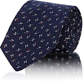 Kiton Men's Floral Silk Faille Necktie - Navy
