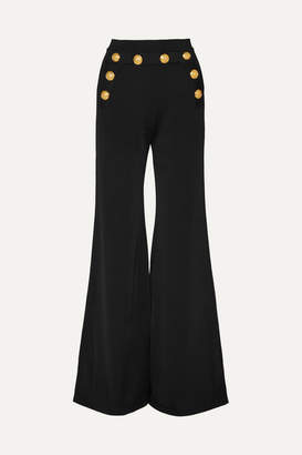 Balmain Button-embellished Stretch-knit Flared Pants - Black