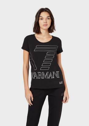 Emporio Armani Ea7 Stretch Jersey T-Shirt With Maxi Logo