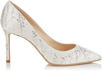 Jimmy Choo ROMY 85 Ivory Satin Pointy Toe Pumps with Hotfix Crystal Fireworks