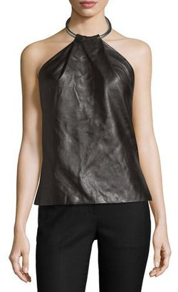 Thierry Mugler Leather Ring Halter Tank, Black $2,650 thestylecure.com