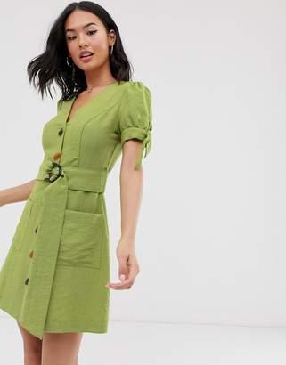 Moon River belted buttondown mini dress