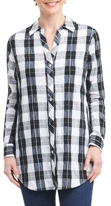 Foxcroft Fay Crinkle Plaid Stretch Cotton Blend Tunic Shirt