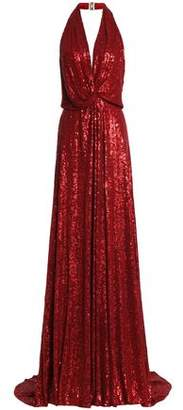 Jenny Packham Twist-Front Sequined Silk-Crepe Halterneck Gown