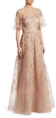Teri Jon by Rickie Freeman Floral Embroidered Gown