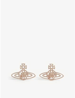 Vivienne Westwood Pink Gold Orb Design Thin Lines Flat Stud Earrings