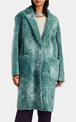Barneys New York Women's Shearling Coat - Blue