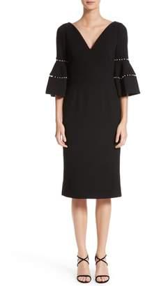 Lela Rose Pearly Trim Bell Sleeve Dress
