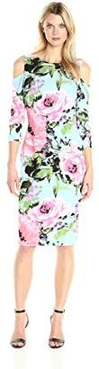 Jax Women's Elbow Sleeve Cold Shoulder Exclusive Floral Print Midi Length Sheath