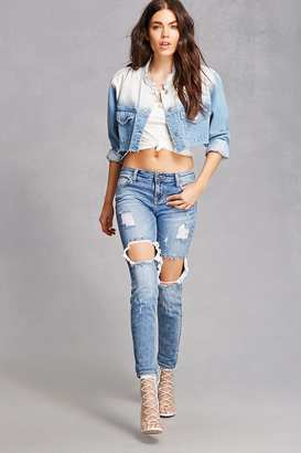 FOREVER 21+ Distressed Low-Rise Denim Jeans $32.90 thestylecure.com