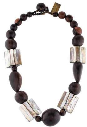 Viktoria Hayman Wood & Mother of Pearl Bead Necklace