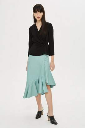 Topshop Asymmetric Peplum Leather Midi Skirt