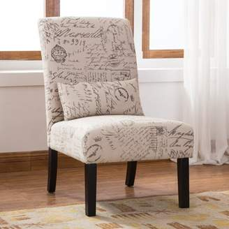 Roundhill Furniture Roundhill Pisano Fabric Armless Contemporary Accent Chair with Kidney Pillow, Multiple Colors Available