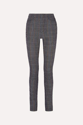 Chloé Prince Of Wales Checked Stretch-wool Blend Slim-leg Pants - Gray