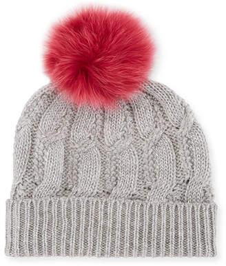 Sofia Cashmere Metallic Seed-Stitch Beanie Hat w/ Fur Pompom