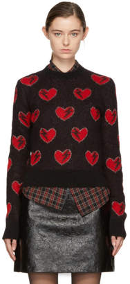 Saint Laurent Red and Black Heart and Lightning Sweater