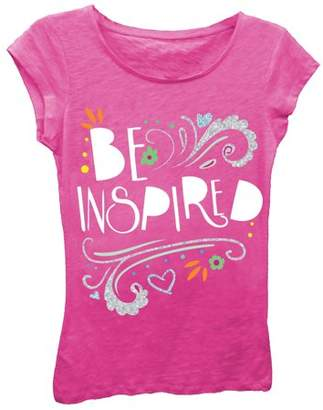 """Freeze Girls' """"Be Inspired"""" Short Sleeve Graphic T-shirt With Silver Glitter"""