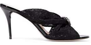 Oscar de la Renta Glenn Crystal-Embellished Twisted Corded Lace Mules