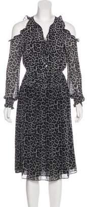MICHAEL Michael Kors Leopard Print Midi Dress