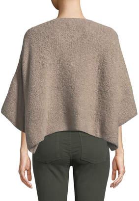 eskandar Short-Sleeve Round-Neck Square Cashmere-Silk Top