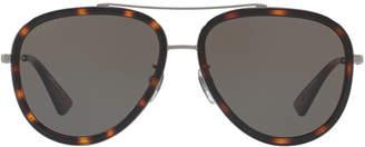 Gucci Gg0062s 57 Gunmetal Pilot Sunglasses