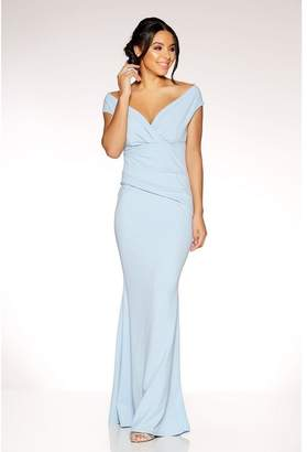 Quiz Powder Blue Crepe Bardot Wrap Front Fishtail Maxi Dress