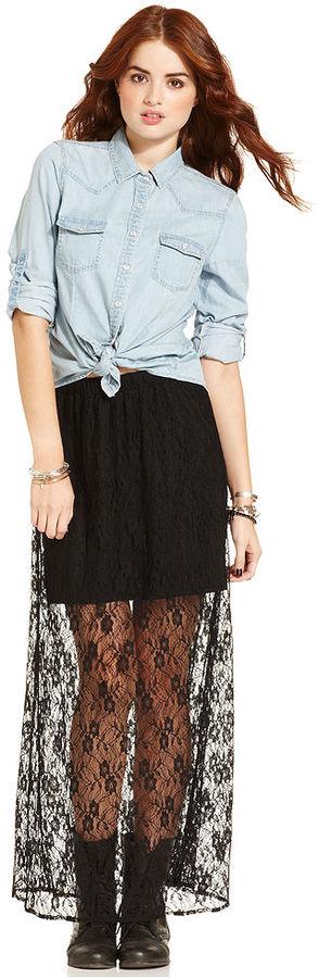 American Rag Juniors Skirt, Lace Illusion Maxi