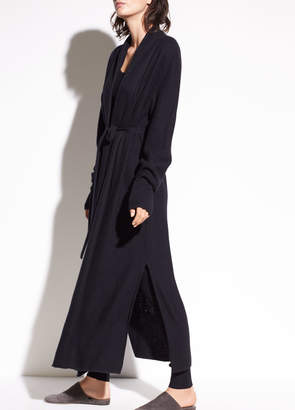 Side Slit Long Cashmere Cardigan