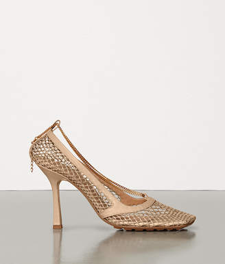 Bottega Veneta PUMPS IN MESH AND BERRY CALF