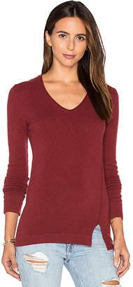 Inhabit Side Slit V Neck Sweater in Red $352 thestylecure.com