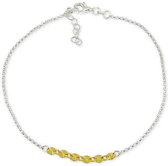 Giani Bernini Two-Tone Textured Disc Ankle Bracelet in Sterling Silver & 18k Gold-Plate