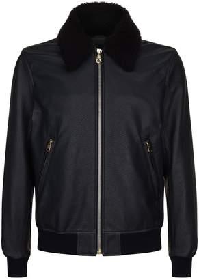 Paul Smith Shearling Collar Aviator Jacket