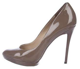 Brian Atwood Patent Leather Round-Toe Pumps
