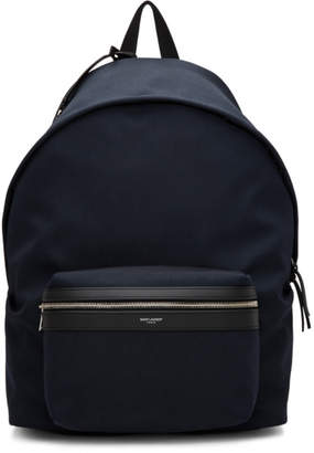 Saint Laurent Navy Canvas City Backpack