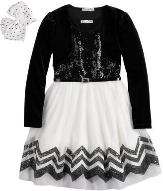 Knitworks Girls 7-16 & Plus Size Sequin Skater Dress & Velvet Shrug Set with Hair Bow