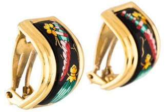 Hermes Enamel Hoop Earrings