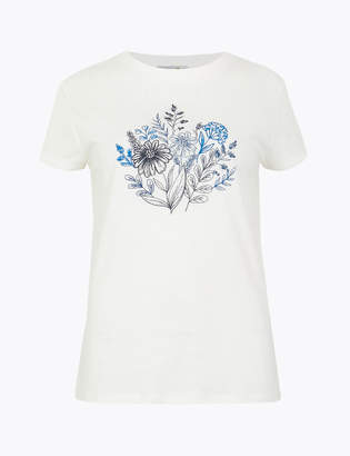 Marks and Spencer Floral Embroidered T-Shirt