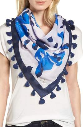 Kate Spade Hibiscus Square Cotton & Silk Scarf