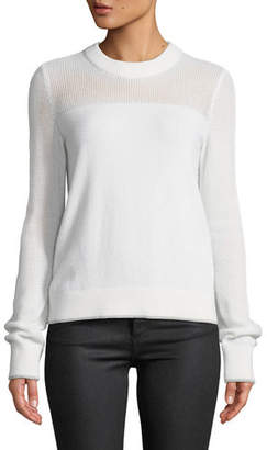 Rag & Bone Yorke Cashmere Crewneck Sweater with Mesh Details