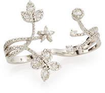 Yeprem Floral Diamond Double-Finger Ring, Size 6/7
