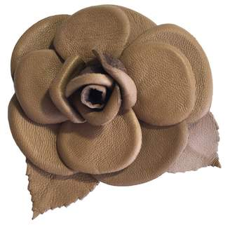 Chanel Leather Camelia Brooch