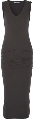 James Perse - Ruched Stretch-cotton Jersey Midi Dress - Anthracite $225 thestylecure.com