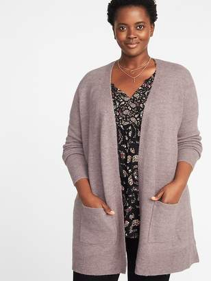 Old Navy Plush-Knit Long-Line Open-Front Plus-Size Sweater