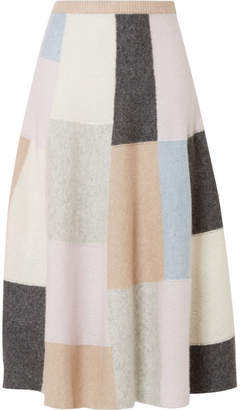 ADAM by Adam Lippes Color-block Brushed Cashmere And Silk-blend Midi Skirt - Beige