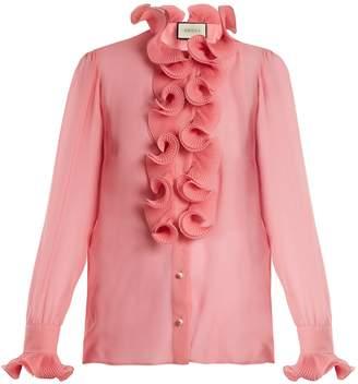 Gucci Ruffle-trimmed sheer silk-georgette blouse